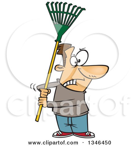 Clipart of a Cartoon Brunette Caucasian Man Ready to Fight with a Rake - Royalty Free Vector Illustration by toonaday