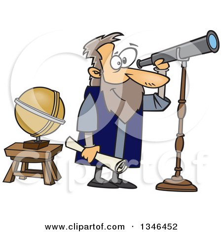 Clipart of a Cartoon Man, Gallileo, Looking Through a Telescope - Royalty Free Vector Illustration by toonaday