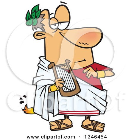 Clipart of a Cartoon Nero Fiddling with a Lyre While Rome Burns - Royalty Free Vector Illustration by toonaday