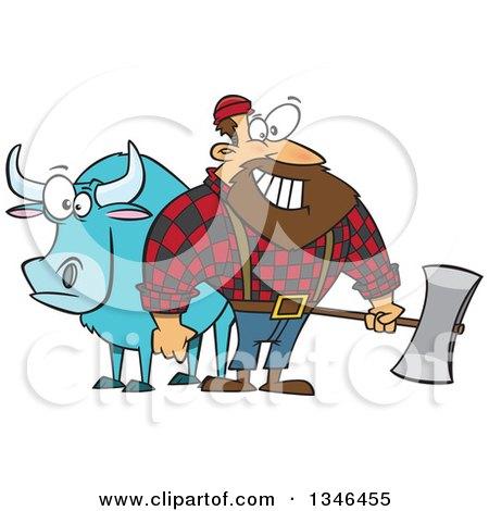 Cartoon Paul Bunyan Lumberjack Holding an Axe by Babe the Blue Ox Posters, Art Prints
