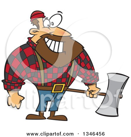 Clipart of a Cartoon Paul Bunyan Lumberjack Holding an Axe - Royalty Free Vector Illustration by toonaday