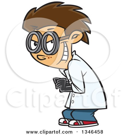 Clipart of a Cartoon Grinning Mad Caucasian Scientist Boy - Royalty Free Vector Illustration by toonaday