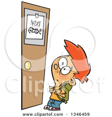 Clipart of a Cartoon Red Haired Caucasian School Boy Looking up at a Next Grade Door - Royalty Free Vector Illustration by toonaday