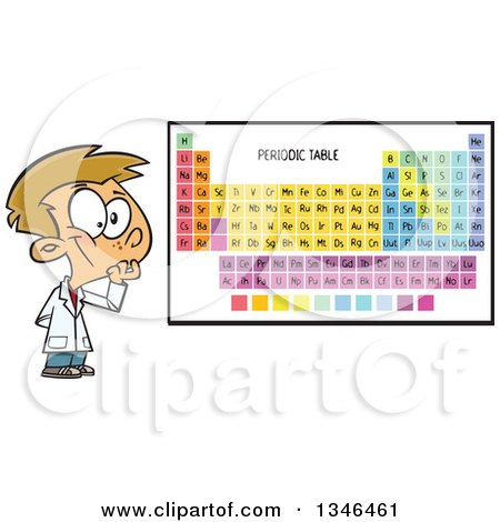 Clipart of a Cartoon Caucasian School Boy Thinking by a Periodic Table - Royalty Free Vector Illustration by toonaday