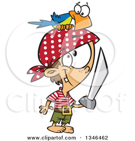 Clipart of a Cartoon Caucasian Pirate Boy with a Sword and Parrot on His Head - Royalty Free Vector Illustration by toonaday