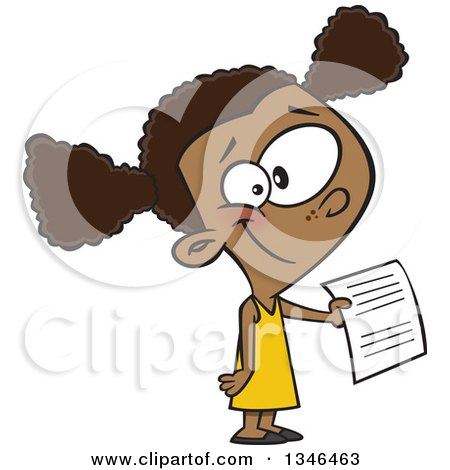 Clipart of a Cartoon Black School Girl Holding out an Assignment - Royalty Free Vector Illustration by toonaday