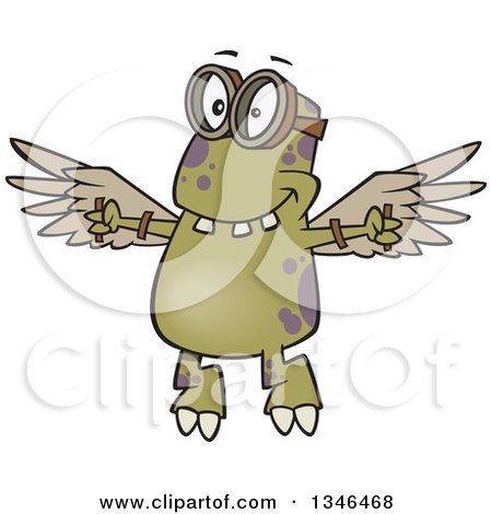Clipart of a Cartoon Monster Wearing Goggles and Flying with Strapped Wings - Royalty Free Vector Illustration by toonaday