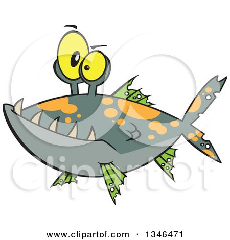 Clipart of a Cartoon Monster Fish - Royalty Free Vector Illustration by toonaday