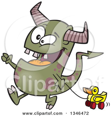 Clipart of a Cartoon Monster Pulling a Duck Toy - Royalty Free Vector Illustration by toonaday