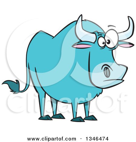 Clipart of a Cartoon Paul Bunyan's Babe the Blue Ox - Royalty Free Vector Illustration by toonaday