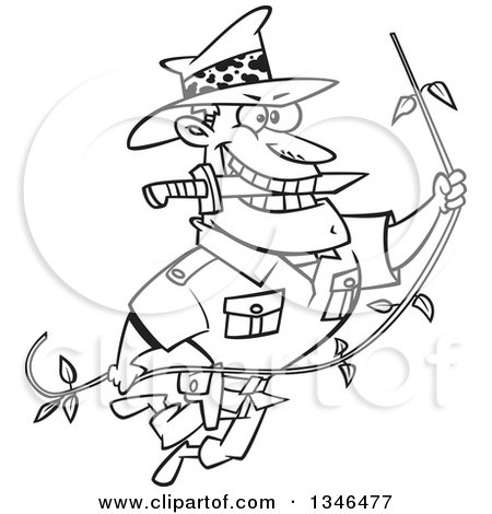 Lineart Clipart of a Cartoon Black and White Male Adventurer Explorer Swinging on a Vine, Biting a Knife in His Teeth - Royalty Free Outline Vector Illustration by toonaday