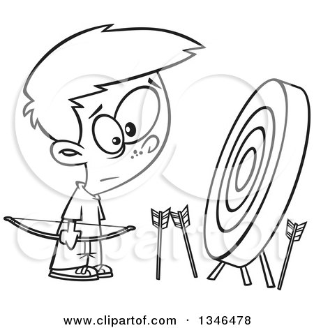 Lineart Clipart of a Cartoon Black and White Archery Boy with Many Missed Arrows Around a Target - Royalty Free Outline Vector Illustration by toonaday