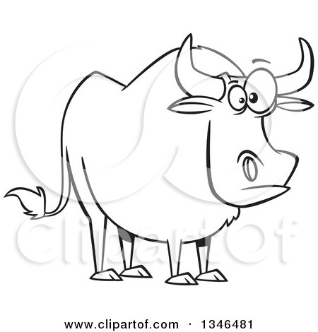 Lineart Clipart of a Cartoon Black and White Paul Bunyan's Babe the Blue Ox - Royalty Free Outline Vector Illustration by toonaday