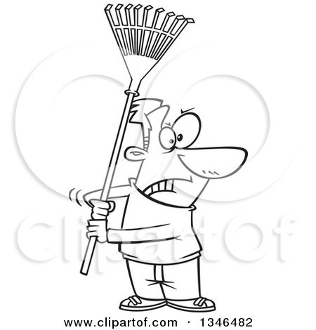 Lineart Clipart of a Cartoon Black and White Man Ready to Fight with a Rake - Royalty Free Outline Vector Illustration by toonaday