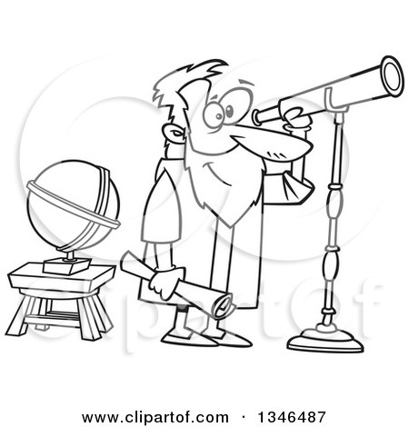 Lineart Clipart of a Cartoon Black and White Man, Gallileo, Looking Through a Telescope - Royalty Free Outline Vector Illustration by toonaday