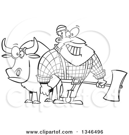 Lineart Clipart of a Cartoon Black and White Paul Bunyan Lumberjack Holding an Axe by Babe the Blue Ox - Royalty Free Outline Vector Illustration by toonaday