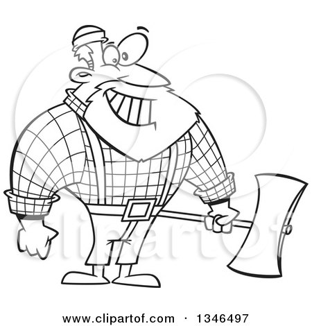 Lineart Clipart of a Cartoon Black and White Paul Bunyan Lumberjack Holding an Axe - Royalty Free Outline Vector Illustration by toonaday