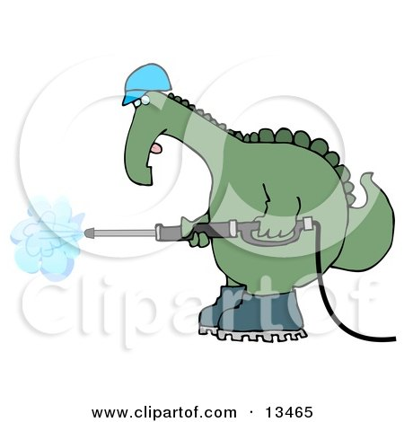 Big Green Dino in a Hard Hat and Boots Operating a Pressure Washer Clipart Illustration by djart