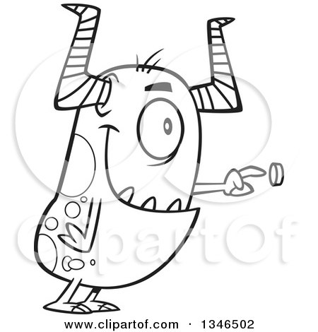 Lineart Clipart of a Cartoon Black and White Monster Pushing