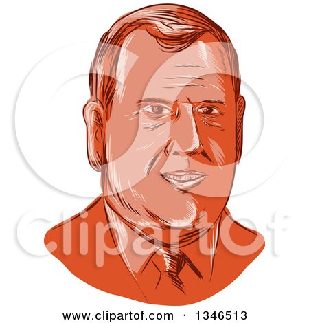 Clipart of a Retro Styled Face of Chris Christie, 2016 Presidential Candidate - Royalty Free Vector Illustration by patrimonio