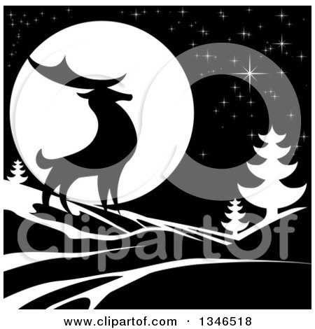 Clipart of a Black Silhouetted Buck Deer with Evergreens Under a Full Moon at Night - Royalty Free Vector Illustration by AtStockIllustration
