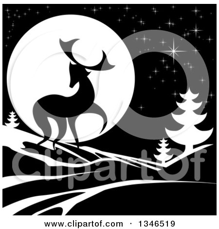 Clipart of a Black Silhouetted Buck with Evergreens Under a Full Moon at Night - Royalty Free Vector Illustration by AtStockIllustration