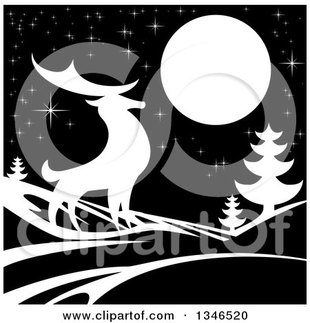 Clipart of a White Silhouetted Buck Deer with Evergreens Under a Full Moon at Night - Royalty Free Vector Illustration by AtStockIllustration