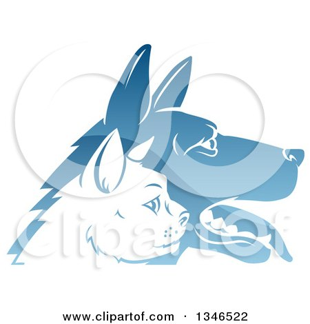 Clipart of Shiny Blue Profiled Dog and Cat Faces - Royalty Free Vector Illustration by AtStockIllustration