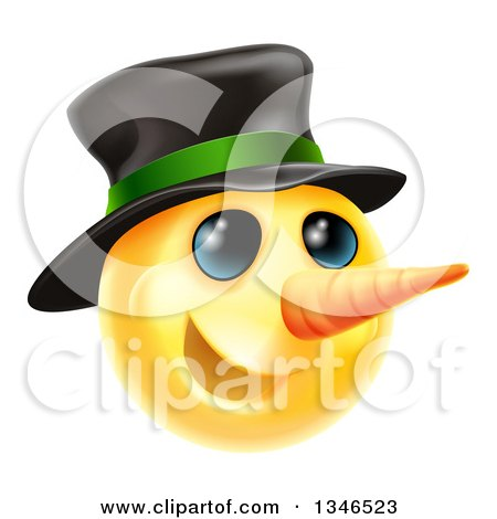 Clipart of a 3d Christmas Snowman Yellow Smiley Emoji Emoticon Face Wearing a Hat - Royalty Free Vector Illustration by AtStockIllustration