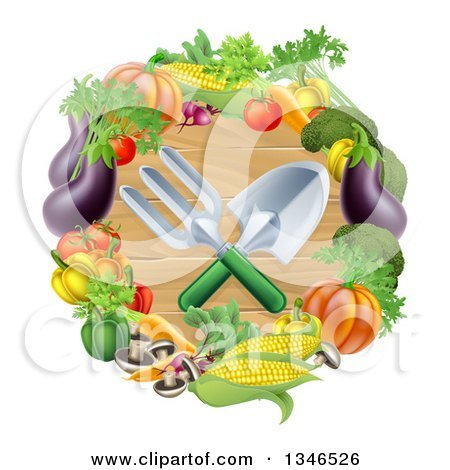 Clipart of Crossed Garden Tools over Wood in a Vegetable Wreath - Royalty Free Vector Illustration by AtStockIllustration