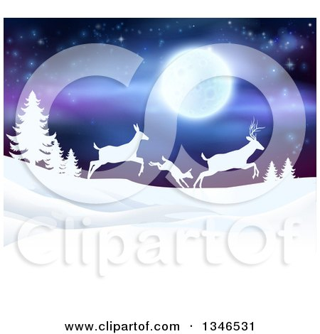 Clipart of a White Silhouetted Family of Deer Leaping over Snowy Hills and Evergreens Under a Full Moon - Royalty Free Vector Illustration by AtStockIllustration
