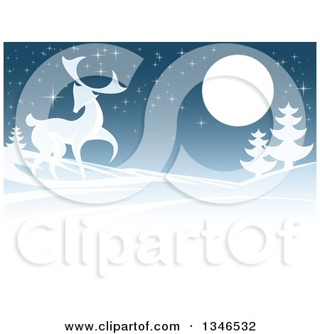 Clipart of a Buck Deer in a Hilly Winter Landscape Under a Full Moon at Night - Royalty Free Vector Illustration by AtStockIllustration