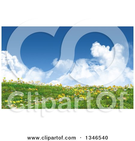 Clipart of a 3d Hill with Grass, Buttercup and Daisy Flowers Against a Sky with Puffy Clouds - Royalty Free Illustration by KJ Pargeter
