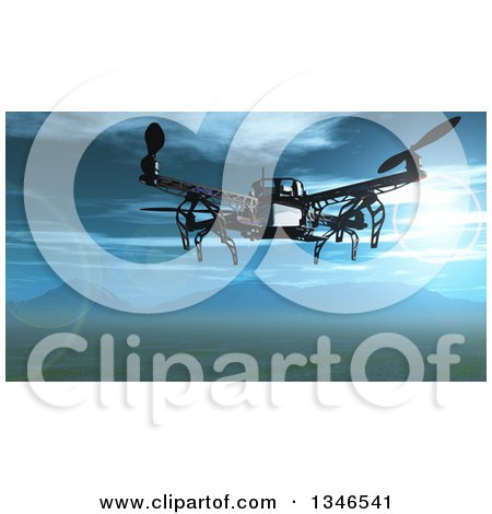 Clipart of a 3d Metal Quadcopter Drone Flying over a Valley with a View of Mountains - Royalty Free Illustration by KJ Pargeter