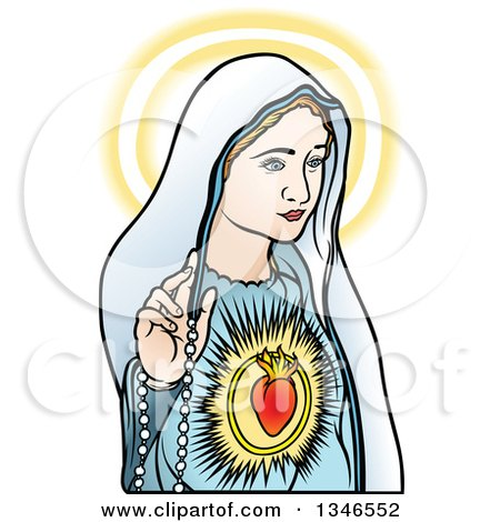 Clipart of Virgin Mary Glowing and Holding a Rosary - Royalty Free Vector Illustration by dero
