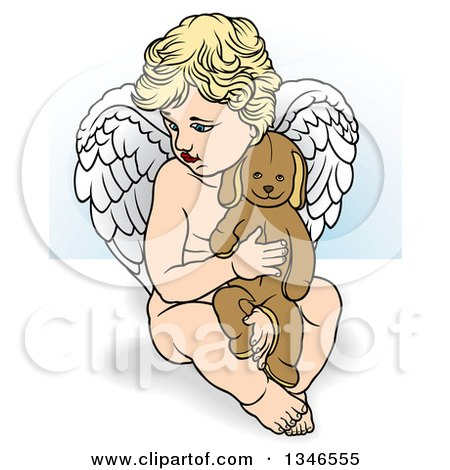 Clipart of a Cartoon Blond White Cherub Holding a Stuffed Animal - Royalty Free Vector Illustration by dero