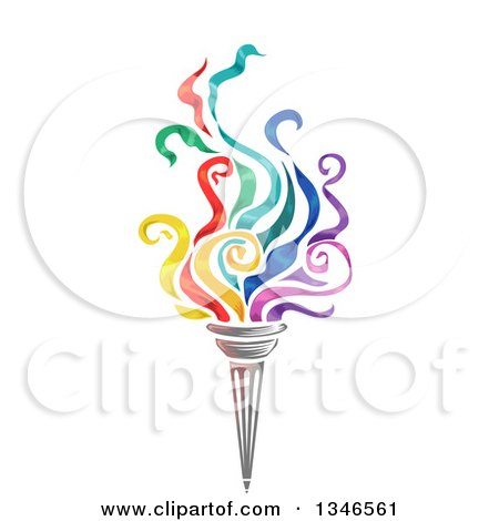 Clipart of a Torch with Colorful Flames - Royalty Free Vector Illustration by BNP Design Studio