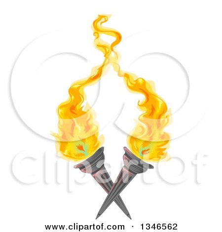 Clipart of Crossed Flaming Torches - Royalty Free Vector Illustration by BNP Design Studio