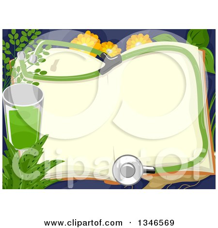 Clipart of a Open Book with a Stethoscope, Green Juice and Medicinal Herbs - Royalty Free Vector Illustration by BNP Design Studio