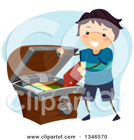 Clipart of a Happy Boy Putting Books in a Treasure Chest - Royalty Free Vector Illustration by BNP Design Studio