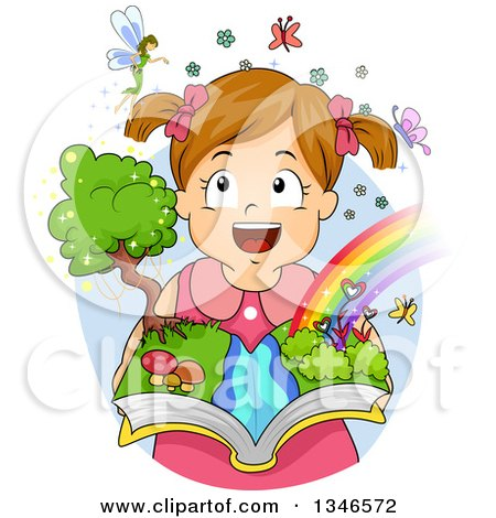 Clipart of a Happy Brunette Caucasian Girl Imagining Fairies and Rainbows and Holding an Open Book - Royalty Free Vector Illustration by BNP Design Studio