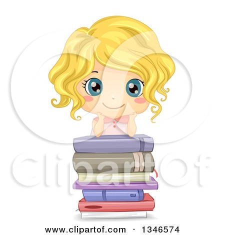 Clipart of a Happy Blond Cacuasian Girl Grinning and Leaning on a Stack of Books - Royalty Free Vector Illustration by BNP Design Studio