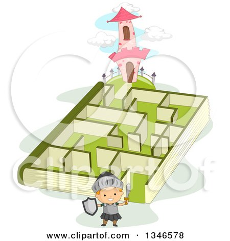 Clipart of a Cartoon Caucasian Knight Boy near a Book Maze Leading to a Castle Tower - Royalty Free Vector Illustration by BNP Design Studio