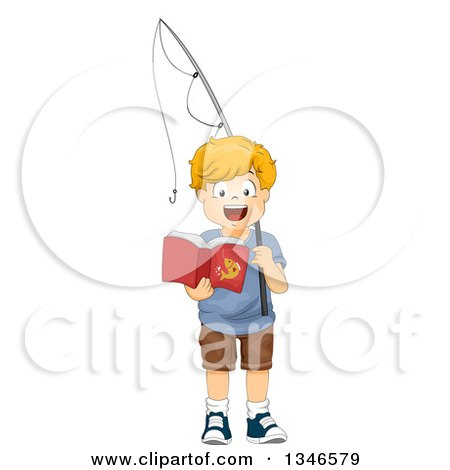 Clipart of a Happy Red Haired Caucasian Boy Holding a Fishing Pole and Reading a Book - Royalty Free Vector Illustration by BNP Design Studio
