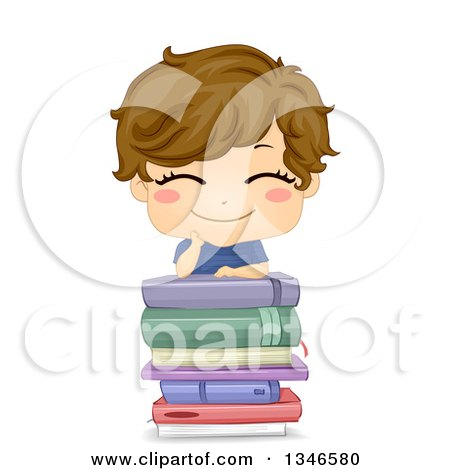 Clipart of a Happy Brunette Cacuasian Boy Grinning and Leaning on a Stack of Books - Royalty Free Vector Illustration by BNP Design Studio
