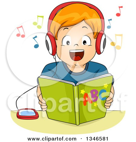 Clipart of a Happy Red Haired Caucasian Boy Listening to an Audio Book - Royalty Free Vector Illustration by BNP Design Studio