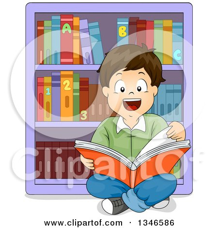 Clipart of a Happy Brunette Caucasian Boy Sitting on the Floor and Readint a Book in a Library - Royalty Free Vector Illustration by BNP Design Studio