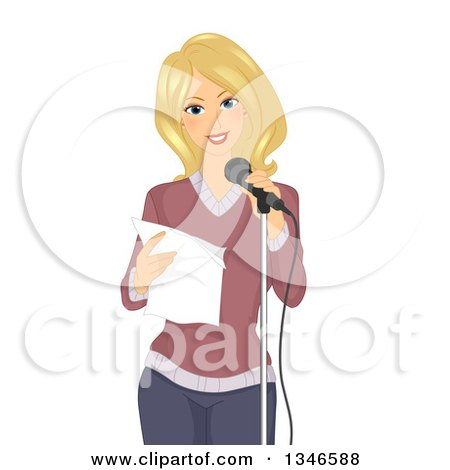 Clipart of a Happy Blond Caucasian Woman Reciting a Poem at a Microphone - Royalty Free Vector Illustration by BNP Design Studio