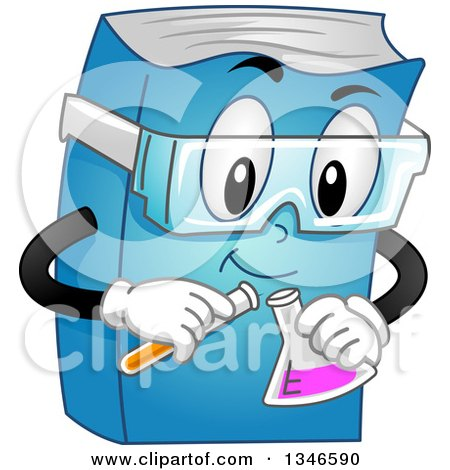 Clipart of a Cartoon Book Character Conducting a Chemistry Experiment - Royalty Free Vector Illustration by BNP Design Studio