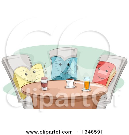 Clipart of a Group of Book Characters Having Coffee Together - Royalty Free Vector Illustration by BNP Design Studio